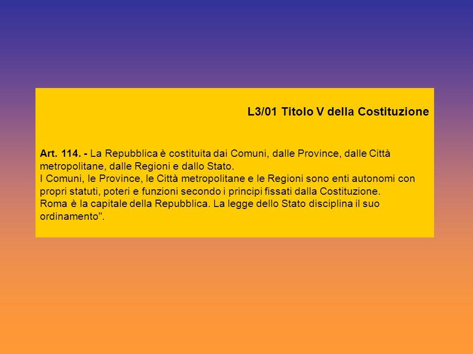 L3/01 Titolo V della Costituzione Art. 114. - La Repubblica è costituita dai Comuni, dalle Province, dalle Città metropolitane, dalle Regioni e dallo