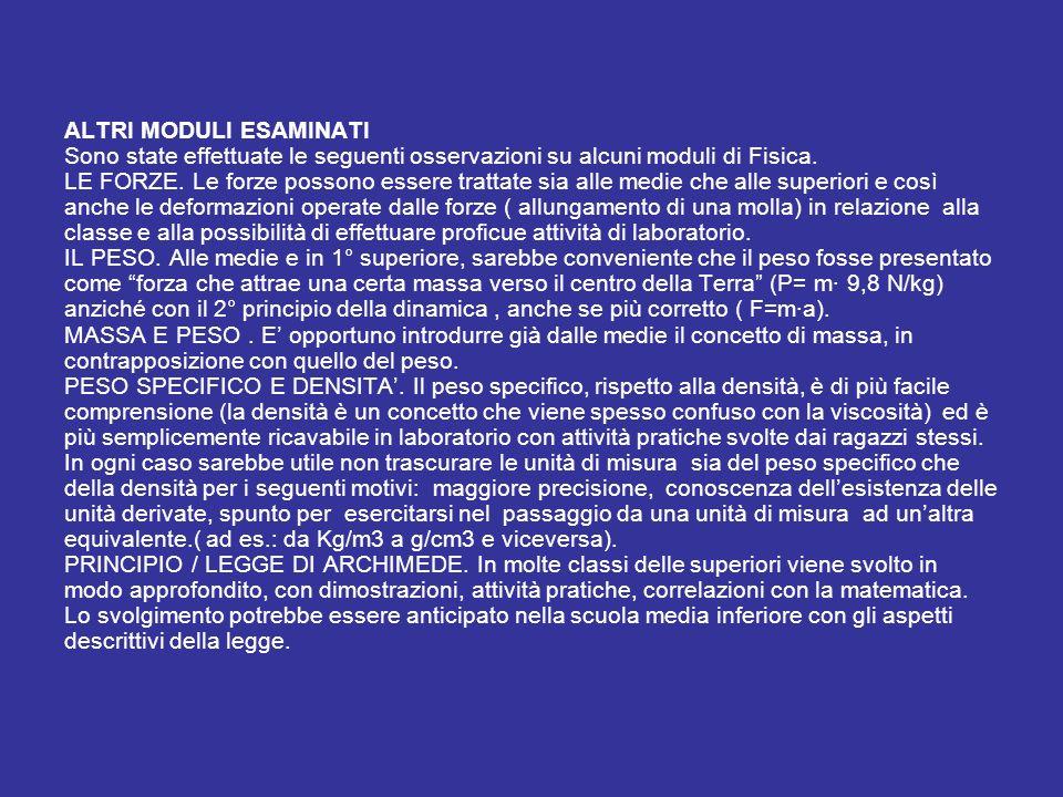 ALTRI MODULI ESAMINATI Sono state effettuate le seguenti osservazioni su alcuni moduli di Fisica. LE FORZE. Le forze possono essere trattate sia alle