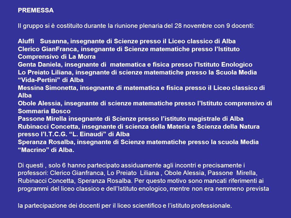 PREMESSA Il gruppo si è costituito durante la riunione plenaria del 28 novembre con 9 docenti: Aluffi Susanna, insegnante di Scienze presso il Liceo c