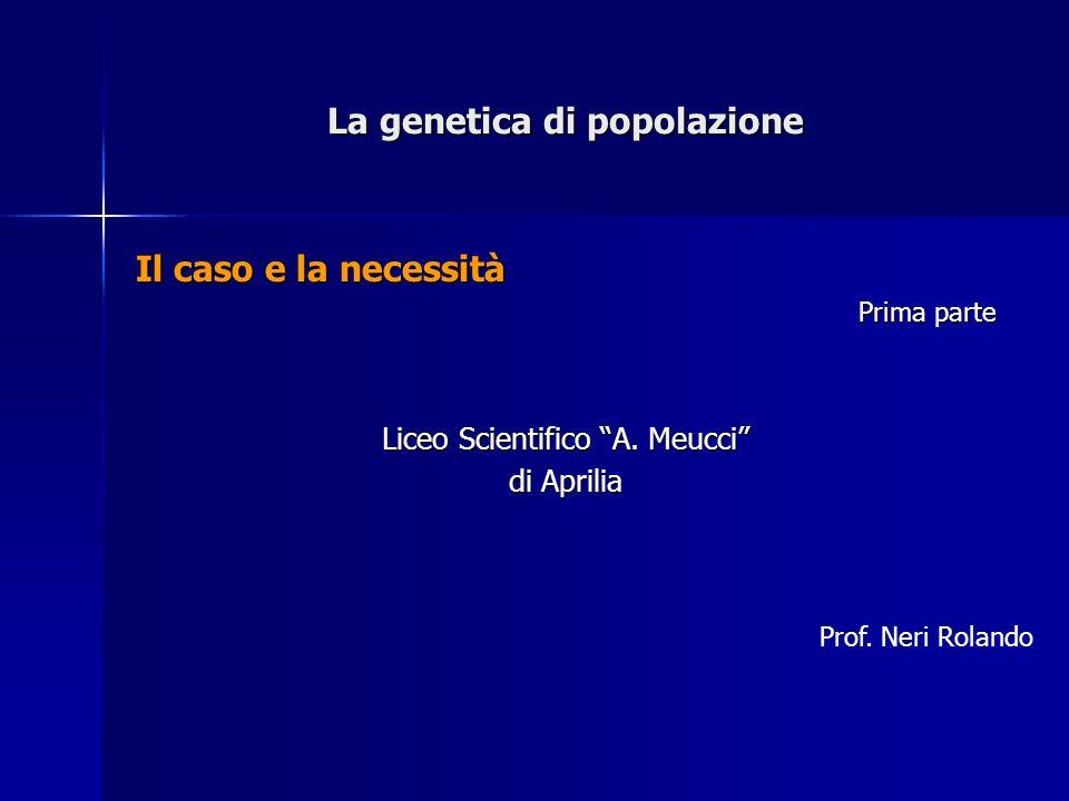 La genetica di popolazione Il caso e la necessità Prima parte Liceo Scientifico A. Meucci di Aprilia Prof. Neri Rolando