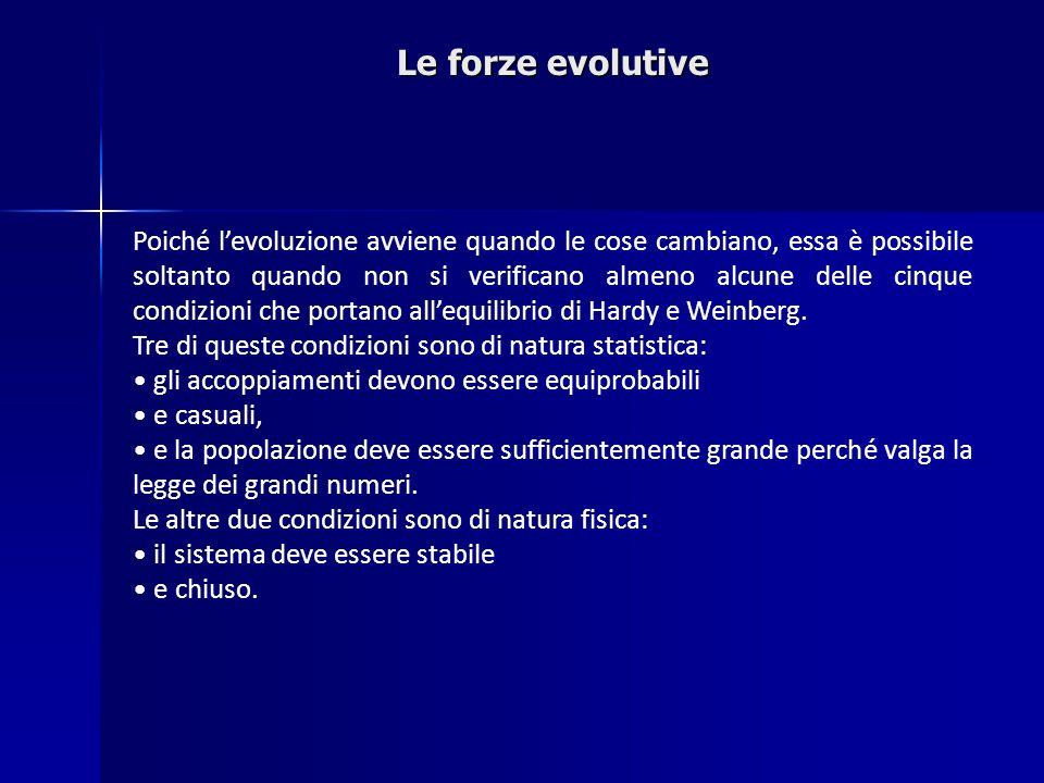 Le forze evolutive Poiché levoluzione avviene quando le cose cambiano, essa è possibile soltanto quando non si verificano almeno alcune delle cinque c