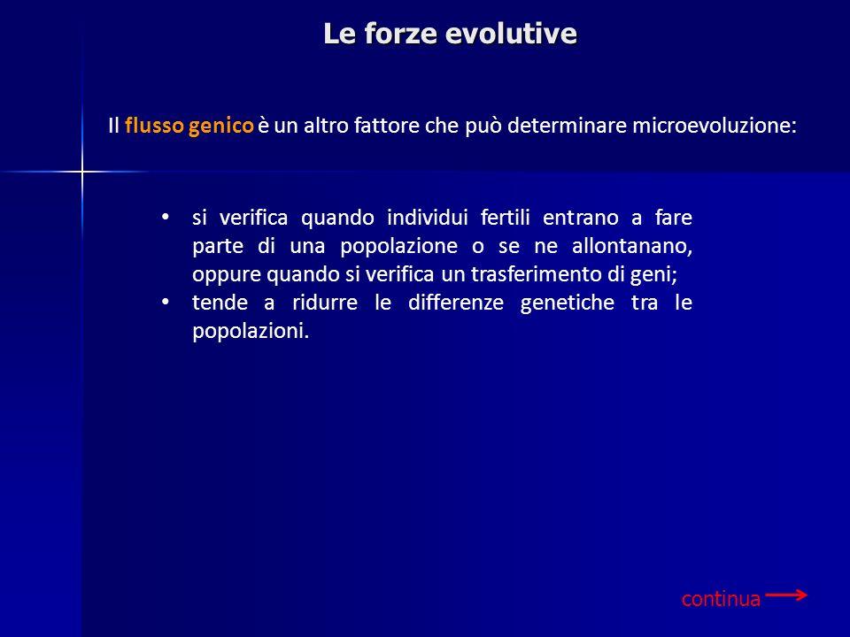 Le forze evolutive si verifica quando individui fertili entrano a fare parte di una popolazione o se ne allontanano, oppure quando si verifica un tras
