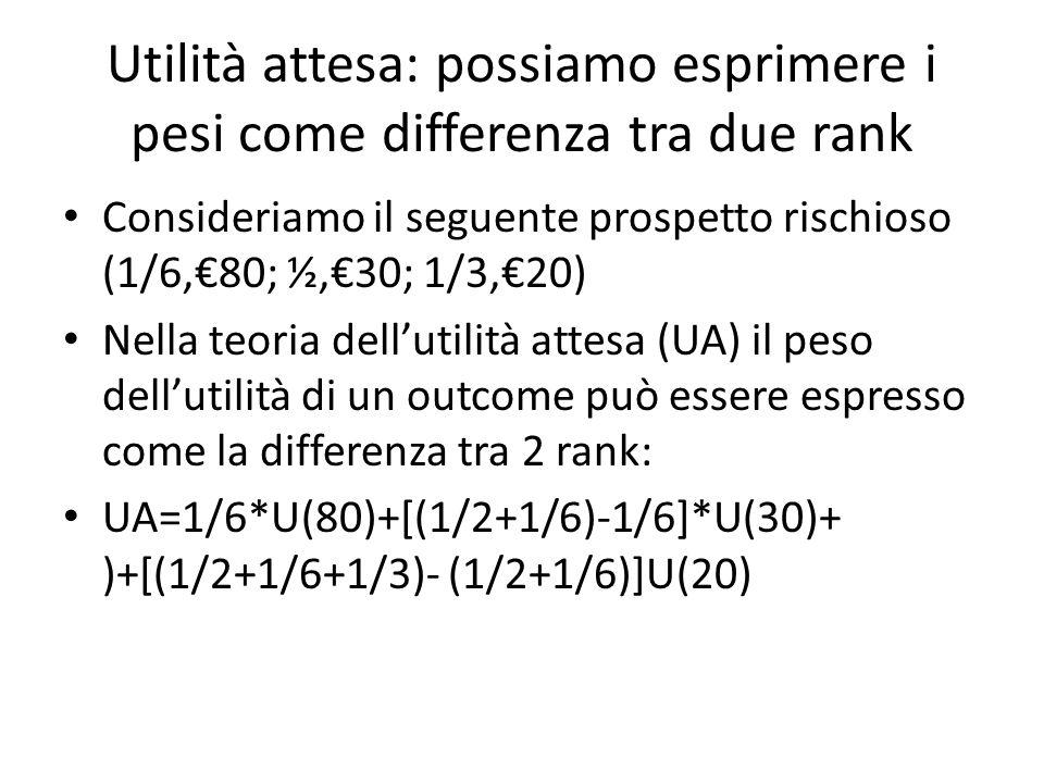 Utilità attesa: possiamo esprimere i pesi come differenza tra due rank Consideriamo il seguente prospetto rischioso (1/6,80; ½,30; 1/3,20) Nella teoria dellutilità attesa (UA) il peso dellutilità di un outcome può essere espresso come la differenza tra 2 rank: UA=1/6*U(80)+[(1/2+1/6)-1/6]*U(30)+ )+[(1/2+1/6+1/3)- (1/2+1/6)]U(20)