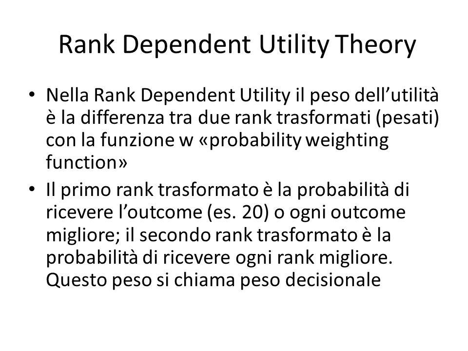 Rank Dependent Utility Theory(RDUT) La differenza fondamentale con la teoria dellUtilità Attesa è che nella Rank Dependent il valore (utilità attesa) del prospetto rischioso non è lineare rispetto alle probabilità.