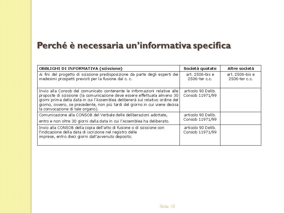 Slide 10 Perché è necessaria uninformativa specifica