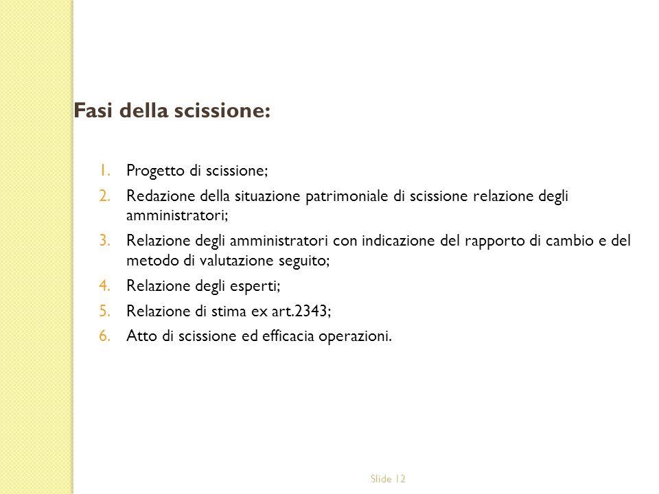 Slide 12 Fasi della scissione: 1.Progetto di scissione; 2.Redazione della situazione patrimoniale di scissione relazione degli amministratori; 3.Relaz