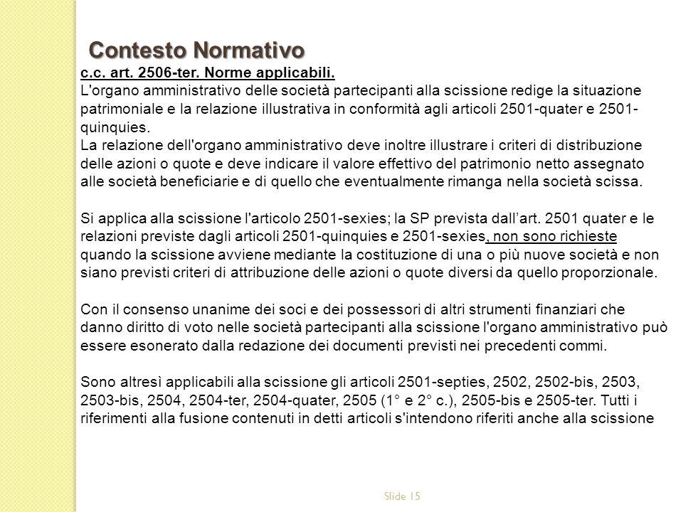 Slide 15 c.c. art. 2506-ter. Norme applicabili. L'organo amministrativo delle società partecipanti alla scissione redige la situazione patrimoniale e