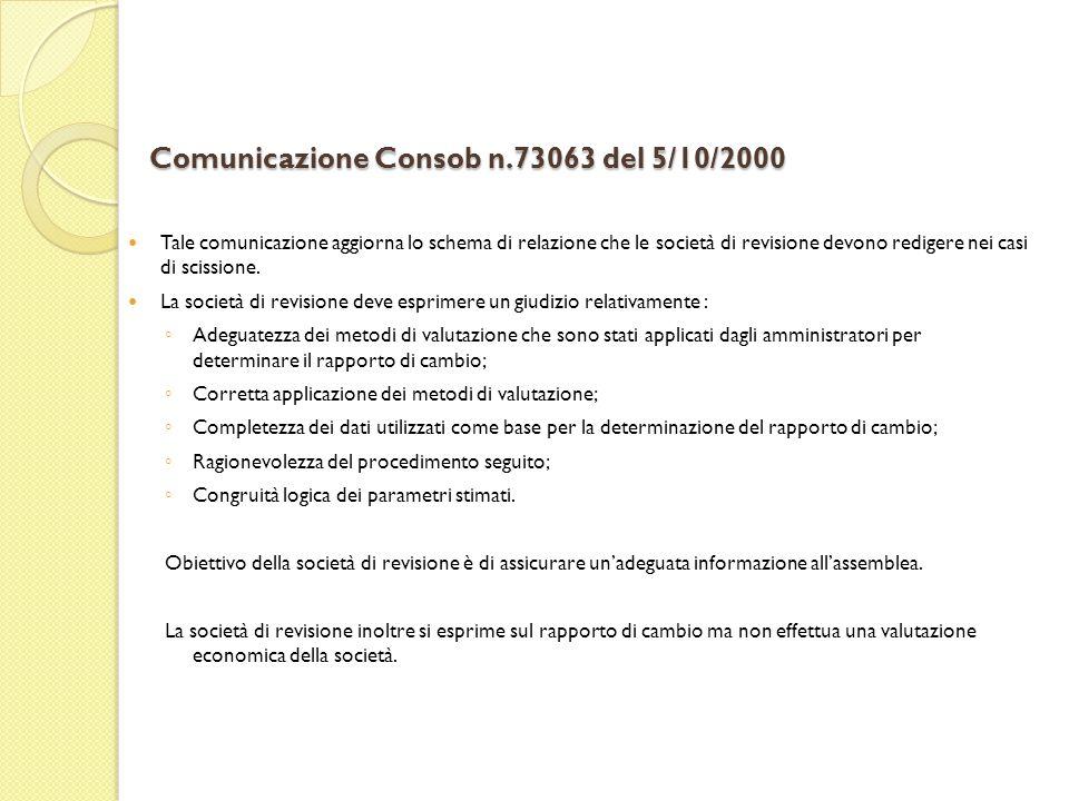 Comunicazione Consob n.73063 del 5/10/2000 Tale comunicazione aggiorna lo schema di relazione che le società di revisione devono redigere nei casi di