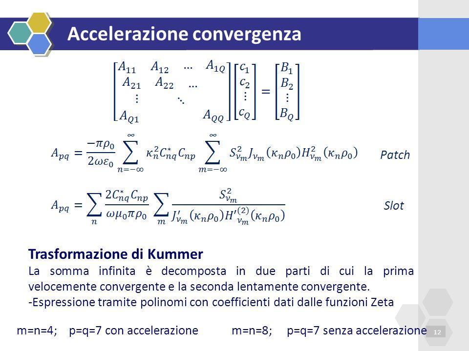 Accelerazione convergenza 12 Trasformazione di Kummer La somma infinita è decomposta in due parti di cui la prima velocemente convergente e la seconda