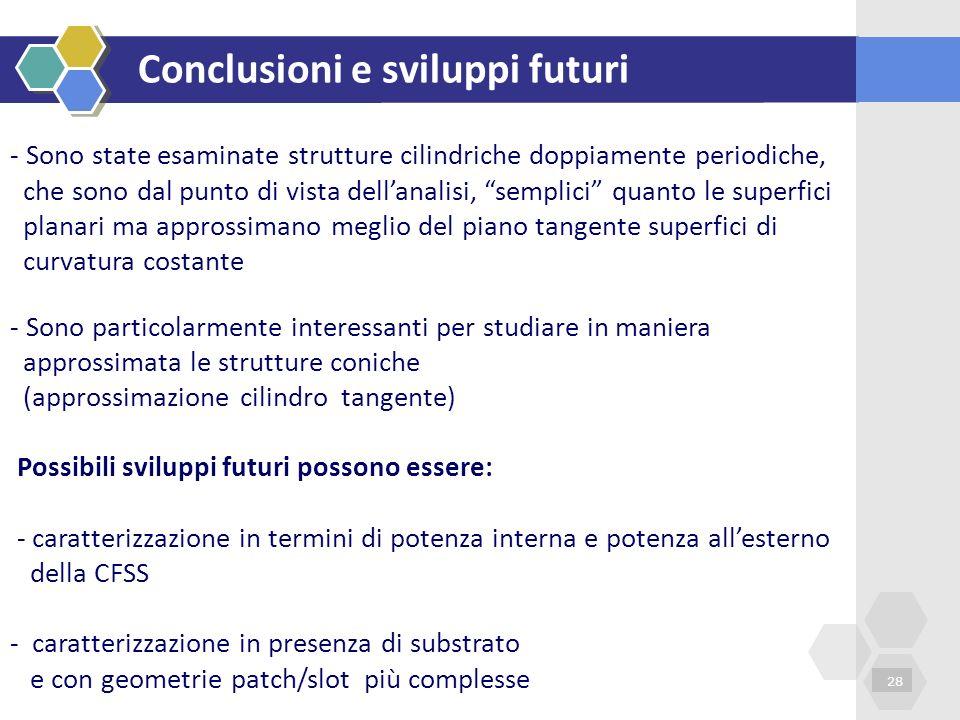 Conclusioni e sviluppi futuri 28 - Sono state esaminate strutture cilindriche doppiamente periodiche, che sono dal punto di vista dellanalisi, semplic