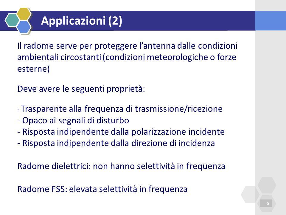 Applicazioni (2) 6 Il radome serve per proteggere lantenna dalle condizioni ambientali circostanti (condizioni meteorologiche o forze esterne) Deve av