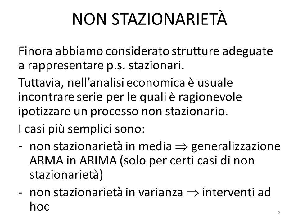 NON STAZIONARIETÀ IN LIVELLO Ricorda: se il p.s.