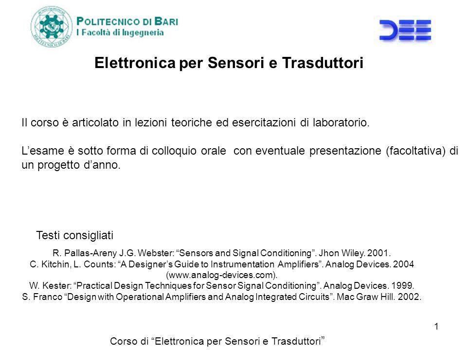 Corso di Elettronica per Sensori e Trasduttori Elettronica per Sensori e Trasduttori R. Pallas-Areny J.G. Webster: Sensors and Signal Conditioning. Jh