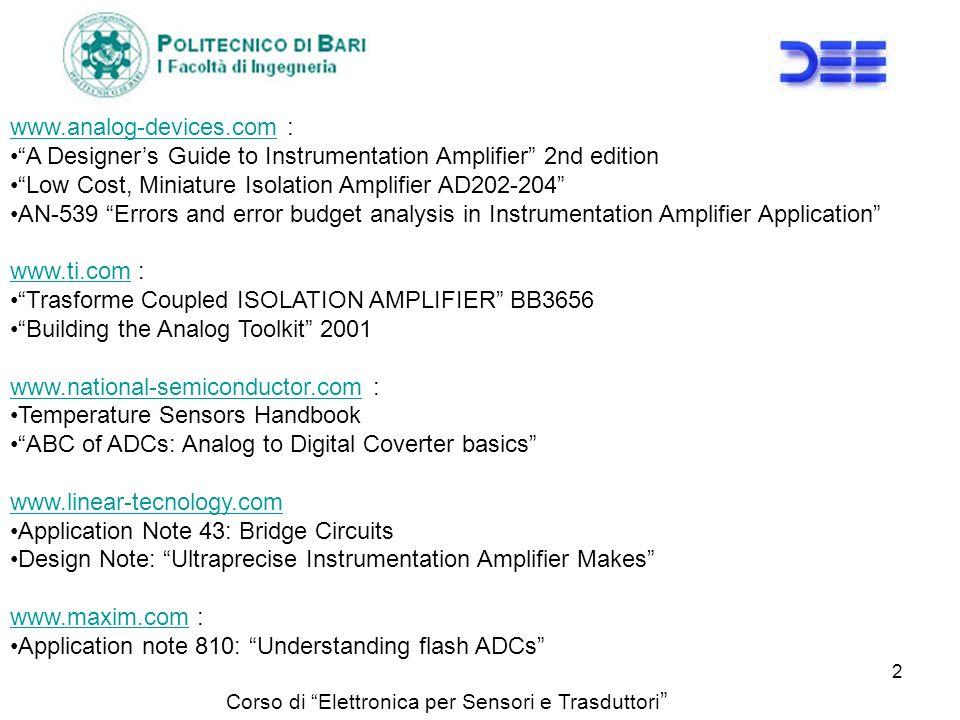 Corso di Elettronica per Sensori e Trasduttori 2 www.analog-devices.comwww.analog-devices.com : A Designers Guide to Instrumentation Amplifier 2nd edi