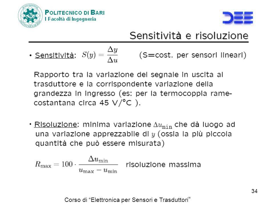 Corso di Elettronica per Sensori e Trasduttori 34
