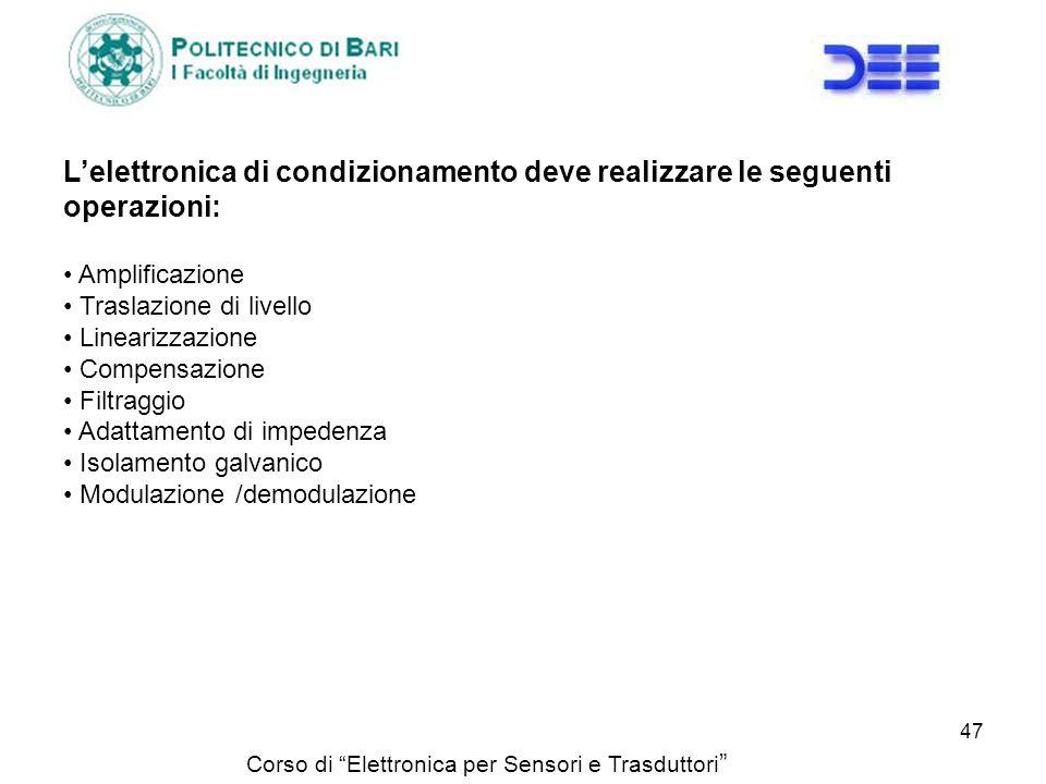 Corso di Elettronica per Sensori e Trasduttori Lelettronica di condizionamento deve realizzare le seguenti operazioni: Amplificazione Traslazione di l