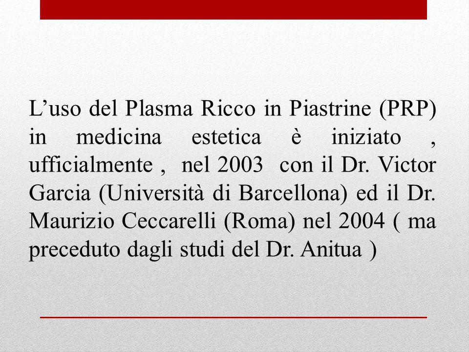 Luso del Plasma Ricco in Piastrine (PRP) in medicina estetica è iniziato, ufficialmente, nel 2003 con il Dr. Victor Garcia (Università di Barcellona)