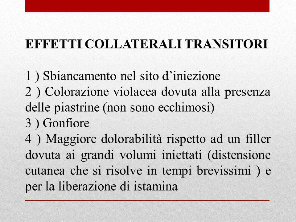 EFFETTI COLLATERALI TRANSITORI 1 ) Sbiancamento nel sito diniezione 2 ) Colorazione violacea dovuta alla presenza delle piastrine (non sono ecchimosi)