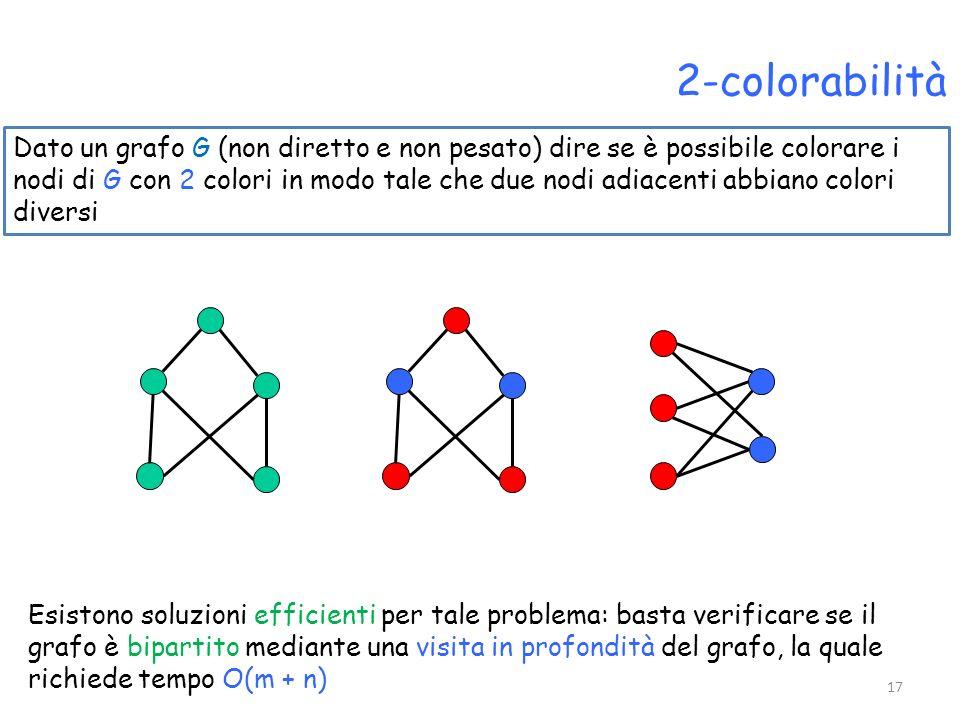 2-colorabilità Dato un grafo G (non diretto e non pesato) dire se è possibile colorare i nodi di G con 2 colori in modo tale che due nodi adiacenti ab