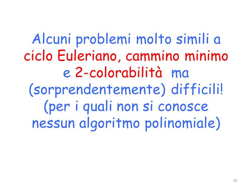 Alcuni problemi molto simili a ciclo Euleriano, cammino minimo e 2-colorabilità ma (sorprendentemente) difficili! (per i quali non si conosce nessun a