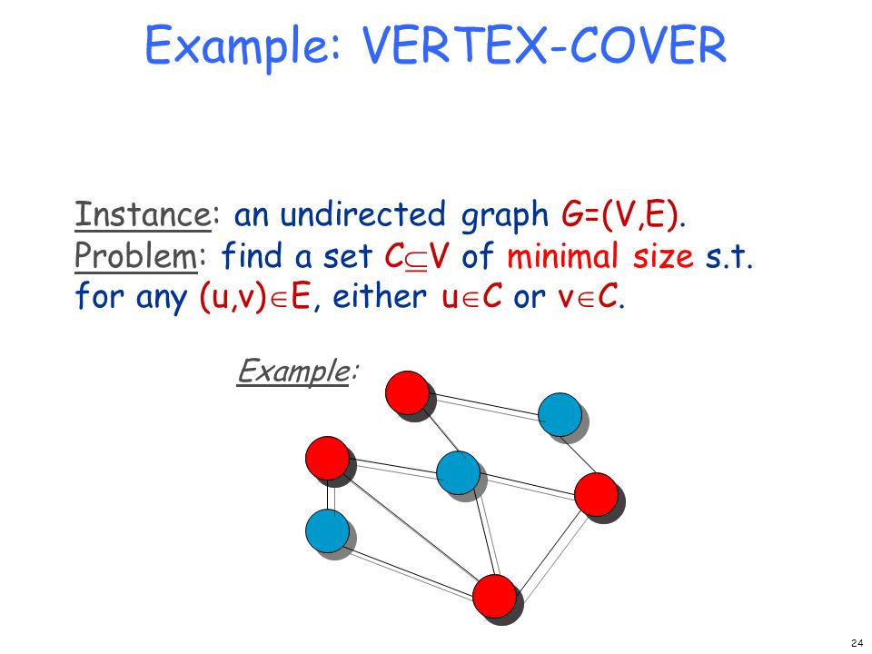 Example: VERTEX-COVER Instance: an undirected graph G=(V,E). Problem: find a set C V of minimal size s.t. for any (u,v) E, either u C or v C. Example: