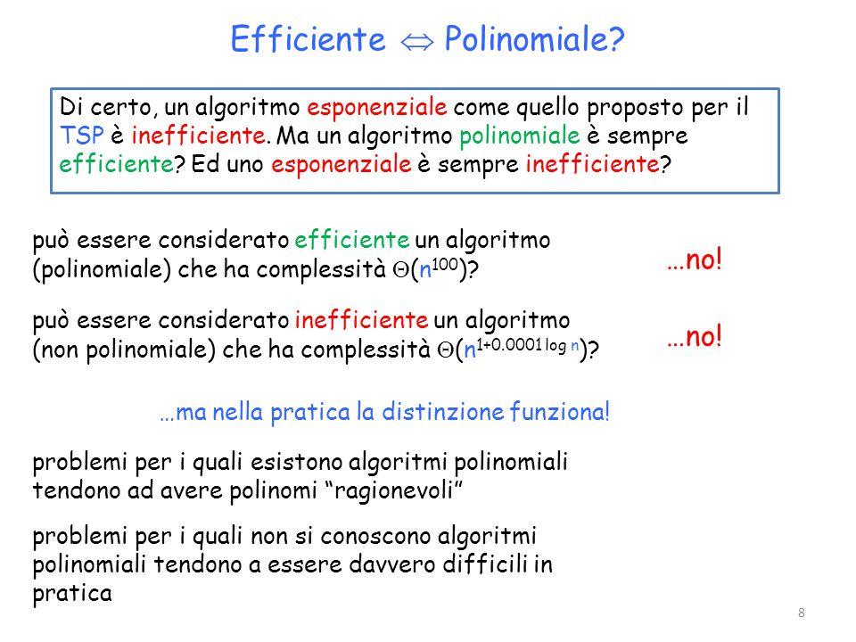 Di certo, un algoritmo esponenziale come quello proposto per il TSP è inefficiente. Ma un algoritmo polinomiale è sempre efficiente? Ed uno esponenzia