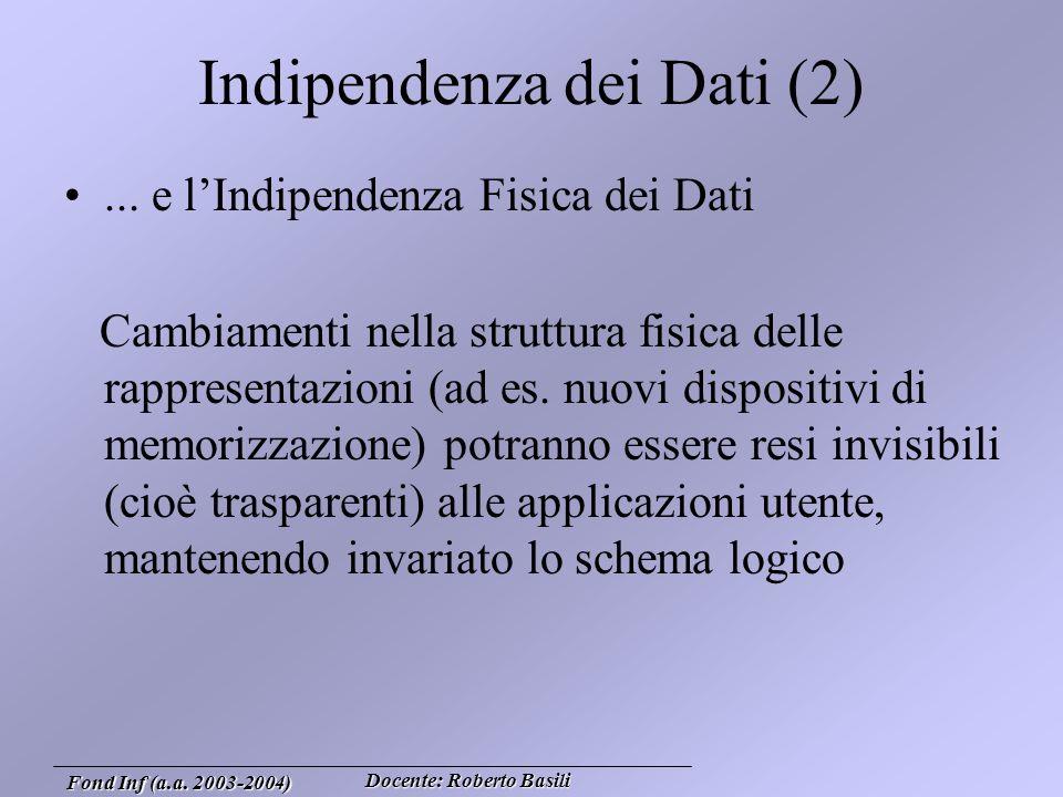 Docente: Roberto Basili Fond Inf (a.a. 2003-2004) Indipendenza dei Dati (2)...