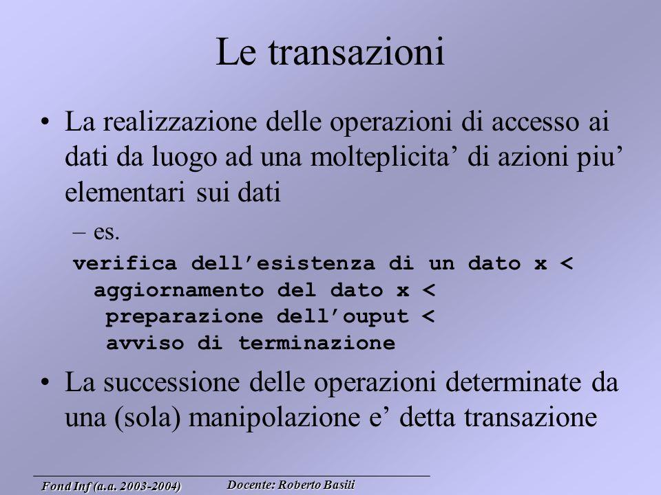 Docente: Roberto Basili Fond Inf (a.a.