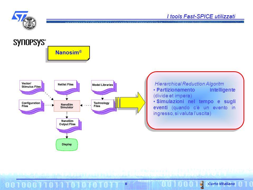 I tools Fast-SPICE utilizzati Curto Vitaliano 8 Nanosim ® Hierarchical Reduction Algoritm Partizionamento intelligente (divide et impera) Simulazioni nel tempo e sugli eventi (quando cè un evento in ingresso, si valuta luscita)