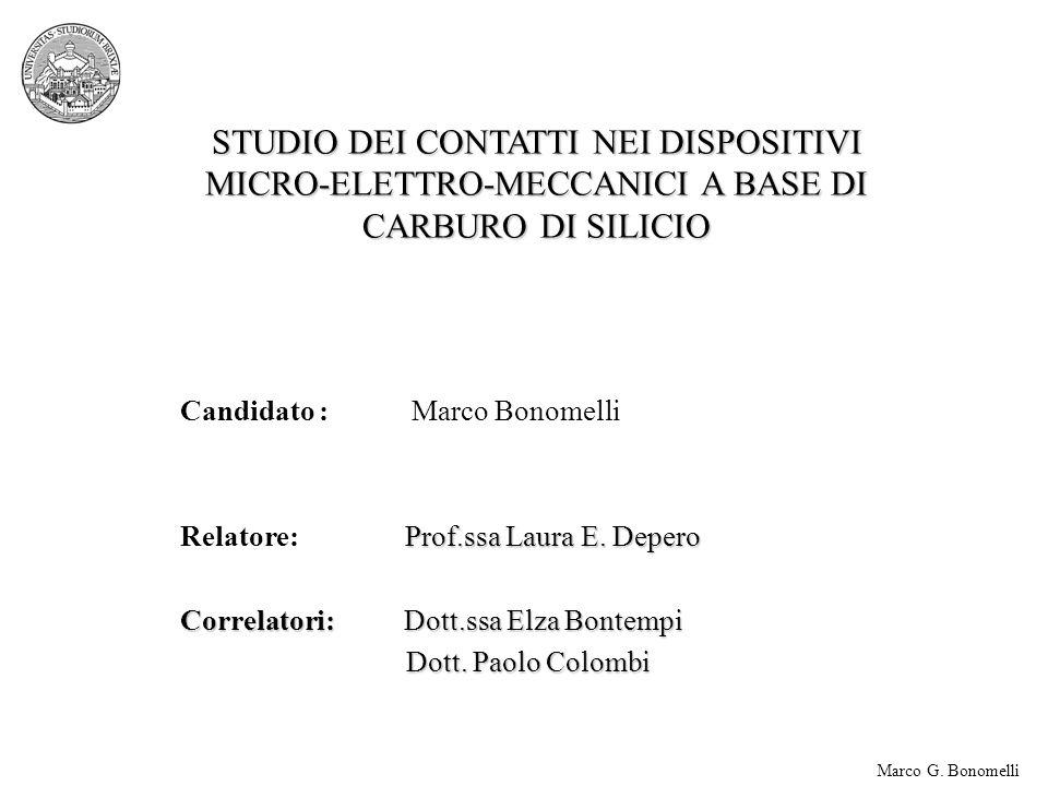 STUDIO DEI CONTATTI NEI DISPOSITIVI MICRO-ELETTRO-MECCANICI A BASE DI CARBURO DI SILICIO Candidato : Marco Bonomelli Prof.ssa Laura E.