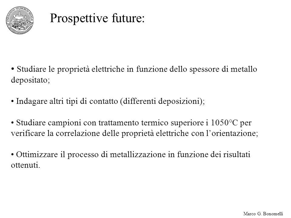 Marco G. Bonomelli Prospettive future: Studiare le proprietà elettriche in funzione dello spessore di metallo depositato; Indagare altri tipi di conta