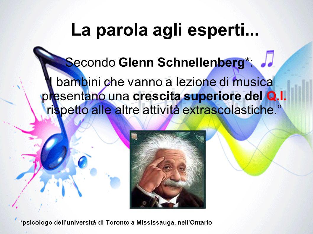 La parola agli esperti... Secondo Glenn Schnellenberg*: I bambini che vanno a lezione di musica presentano una crescita superiore del Q.I. rispetto al