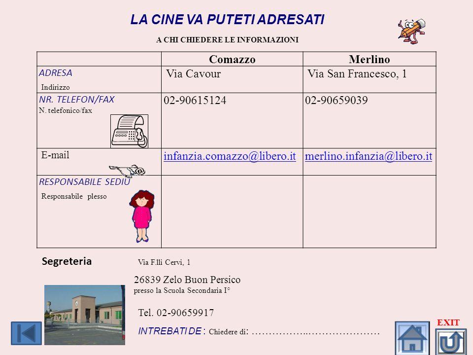 LA CINE VA PUTETI ADRESATI A CHI CHIEDERE LE INFORMAZIONI ComazzoMerlino ADRESA Indirizzo Via Cavour Via San Francesco, 1 NR. TELEFON/FAX N. telefonic