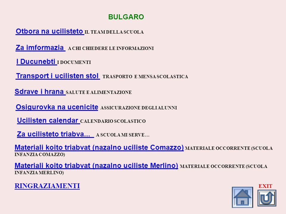 Otbora na ucilisteto Otbora na ucilisteto IL TEAM DELLA SCUOLA Za imformazia Za imformazia A CHI CHIEDERE LE INFORMAZIONI BULGARO I Ducunebti I Ducune