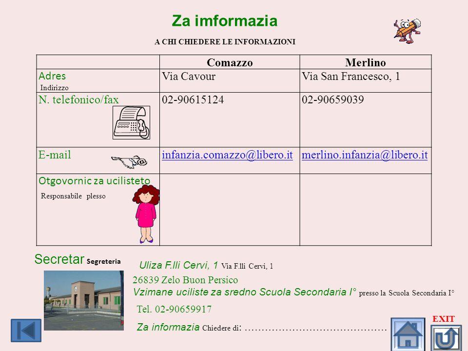 Za imformazia A CHI CHIEDERE LE INFORMAZIONI ComazzoMerlino Adres Indirizzo Via CavourVia San Francesco, 1 N. telefonico/fax02-9061512402-90659039 E-m