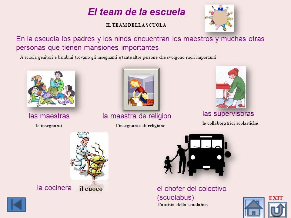 El team de la escuela IL TEAM DELLA SCUOLA En la escuela los padres y los ninos encuentran los maestros y muchas otras personas que tienen mansiones i