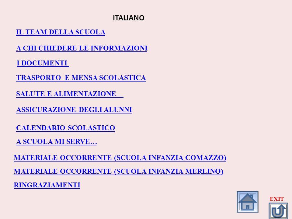 IL TEAM DELLA SCUOLA A CHI CHIEDERE LE INFORMAZIONI ITALIANO I DOCUMENTI TRASPORTO E MENSA SCOLASTICA SALUTE E ALIMENTAZIONE ASSICURAZIONE DEGLI ALUNN
