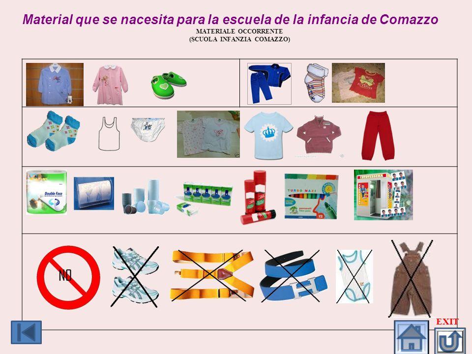 Material que se nacesita para la escuela de la infancia de Comazzo MATERIALE OCCORRENTE (SCUOLA INFANZIA COMAZZO) EXIT