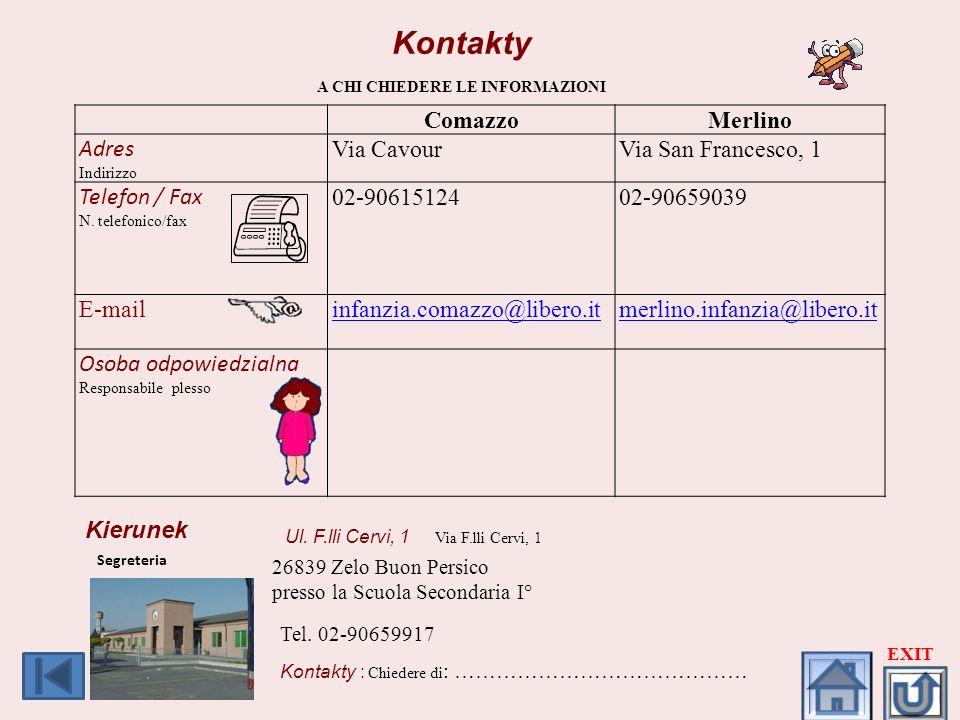 Kontakty A CHI CHIEDERE LE INFORMAZIONI ComazzoMerlino Adres Indirizzo Via CavourVia San Francesco, 1 Telefon / Fax N. telefonico/fax 02-9061512402-90