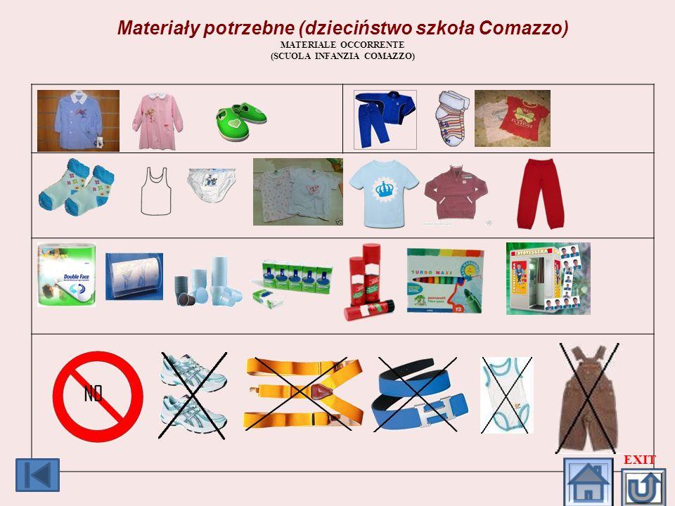 Materiały potrzebne (dzieciństwo szkoła Comazzo) MATERIALE OCCORRENTE (SCUOLA INFANZIA COMAZZO) EXIT