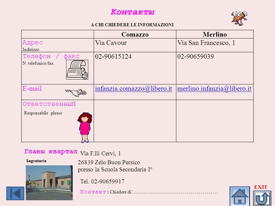 Контакты A CHI CHIEDERE LE INFORMAZIONI ComazzoMerlino Адрес Indirizzo Via CavourVia San Francesco, 1 Телефон / факс N. telefonico/fax 02-9061512402-9