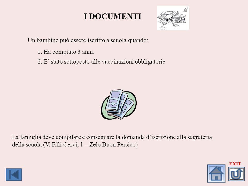 Wymagania wstępne I DOCUMENTI Aby uczestniczyć w dzieciństwie dzieci w wieku szkolnym: Un bambino può essere iscritto a scuola quando: 1.