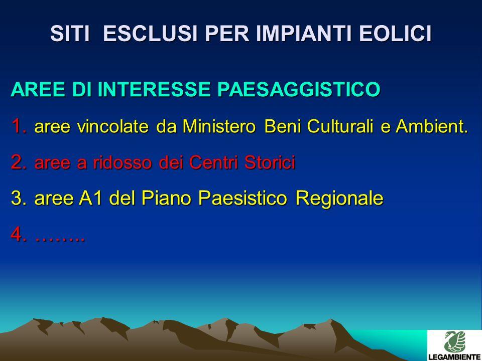 SITI ESCLUSI PER IMPIANTI EOLICI AREE DI INTERESSE PAESAGGISTICO 1.