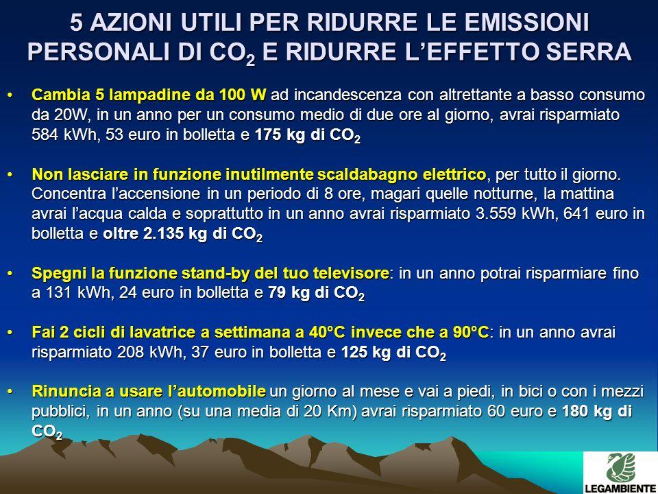 5 AZIONI UTILI PER RIDURRE LE EMISSIONI PERSONALI DI CO 2 E RIDURRE LEFFETTO SERRA Cambia 5 lampadine da 100 W ad incandescenza con altrettante a basso consumo da 20W, in un anno per un consumo medio di due ore al giorno, avrai risparmiato 584 kWh, 53 euro in bolletta e 175 kg di CO 2Cambia 5 lampadine da 100 W ad incandescenza con altrettante a basso consumo da 20W, in un anno per un consumo medio di due ore al giorno, avrai risparmiato 584 kWh, 53 euro in bolletta e 175 kg di CO 2 Non lasciare in funzione inutilmente scaldabagno elettrico, per tutto il giorno.