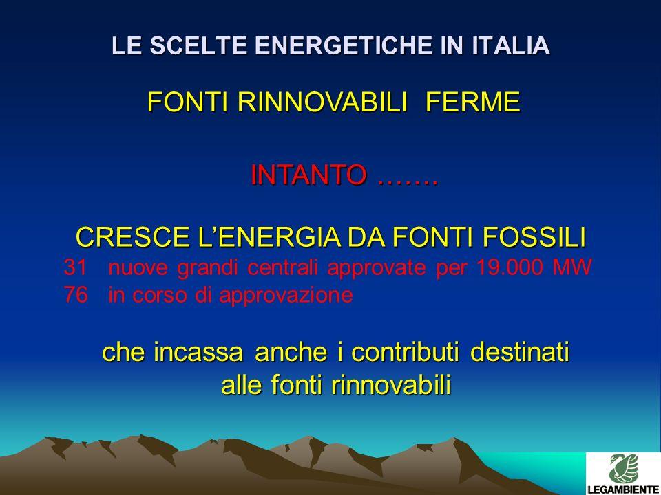 LE SCELTE ENERGETICHE IN ITALIA FONTI RINNOVABILI FERME INTANTO …….