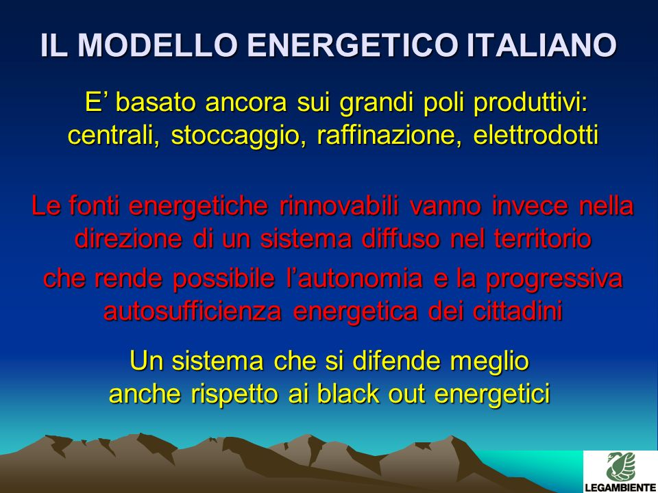 RICERCA ED INNOVAZIONE il ritardo italiano si ripercuote anche nellassenza di prototipi, brevetti e lavoro il ritardo italiano si ripercuote anche nellassenza di prototipi, brevetti e lavoro INVESTIMENTI ED OCCUPAZIONE in Germania 6 miliardi di e 120.000 occupati in Spagna 30.000 occupati INVESTIMENTI ED OCCUPAZIONE in Germania 6 miliardi di e 120.000 occupati in Spagna 30.000 occupati Le prime 10 industrie nel settore eolico sono: 3 danesi, 3 tedesche, 2 spagnole, 1 americana,1 giapponese La Germania ha sottoscritto accordi commerciali in Cina per 600 milioni di La Germania ha sottoscritto accordi commerciali in Cina per 600 milioni di