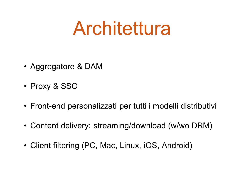 Architettura Aggregatore & DAM Proxy & SSO Front-end personalizzati per tutti i modelli distributivi Content delivery: streaming/download (w/wo DRM) C