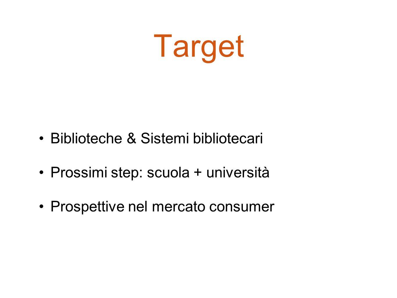 Target Biblioteche & Sistemi bibliotecari Prossimi step: scuola + università Prospettive nel mercato consumer