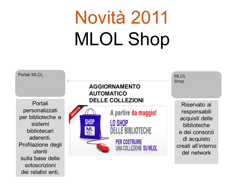 Portali MLOL Portali personalizzati per biblioteche e sistemi bibliotecari aderenti. Profilazione degli utenti sulla base delle sotoscrizioni dei rela