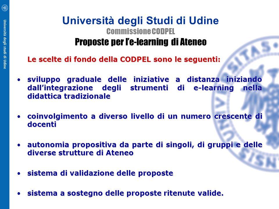 Commissione CODPEL Proposte per le-learning di Ateneo M Michelini (Presidente) Membri della Commissione R Bombi, PL Montessoro, R Spoletti, M Pighin C